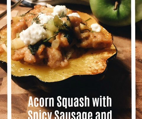 Acorn Squash with Spicy Sausage and Apples